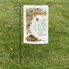 Vintage Thanksgiving Verse and Harvest Fruit Garden Flag | Zazzle.com