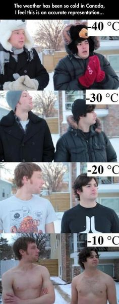 Weather in Canada. So funny I feel like it's not that bad when it's 20f because it's been so cold here too
