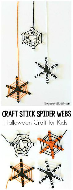 spider web craft for kids using popsicle sticks and yarn