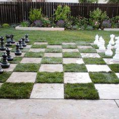 Chess Board Lawn DIY Inspiring Patio Design Ideas With Grass Plants Home Backyard Backyard Garden Design