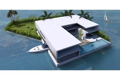 Though the companies plan to build and sell buoyant islands all over the world, Christie's International Real Estate and Dutch Docklands will start by constructing archipelagos off busy coastal areas in the Maldives, Florida, and Dubai. Floating Architecture, Contemporary Architecture, Architecture Design, Water Architecture, Villa, Portable Island, Swimming Pool Construction, Fantasy Island, Modern Mansion