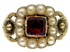 Georgian Gold Flat Cut Garnet & Natural Split Pearl Ring - The Antique Jewellery Company Old Rings, Antique Rings, Antique Jewelry, Vintage Jewelry, Pearl Ring, Pearl Jewelry, My Perfect Wedding, Gold Flats, Jewelry Companies