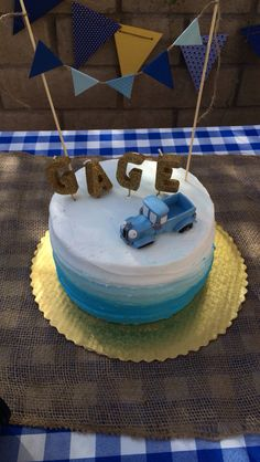 Gage's first birthday.. Little blue truck party!! Yay!!