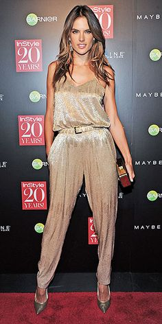 "ALESSANDRA AMBROSIO Take this outfit as your cue to start an ""Amazing New Year's Eve Outfits"" Pinterest board, stat! The Victoria's Secret Angel steps out in a celebration-worthy glittery Houghton jumpsuit and metallic accessories for InStyle's 20th anniversary party in NYC."