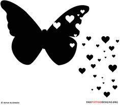 Black butterfly and hearts tattoo design
