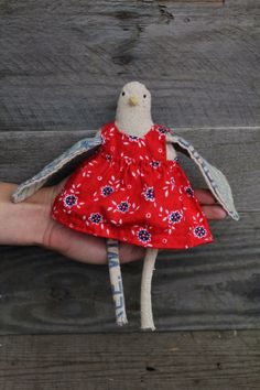 Handmade Little Bird in a Red Dress by TheFarWoods