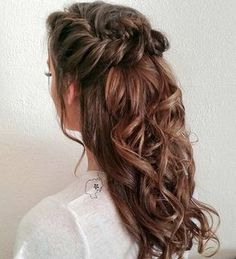 Curly, Fishtail Braid Half Updo for Bridesmaids