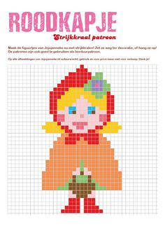 strijkkraalpatroon roodkapje Hama Beads Patterns, Beading Patterns, C2c, Perler Beads, Pixel Art, Winnie The Pooh, Pokemon, Goodies, Cross Stitch