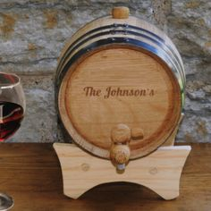 Personalized mini oak wine cask is steel banded and comes with its own stand, spigot and bung. Buy now from http://pressentz.com/wp-content/uploads/2013/11/GC1033__98716.png for $69.99