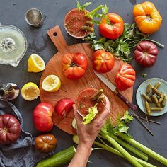 All the best heirloom tomatoes, one epic Bloody Mary. (Hint: grate your tomatoes instead of using a mix.) Cheers!!