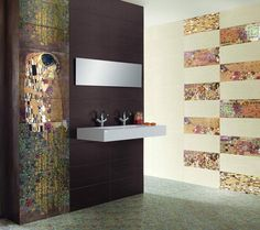 Gustav Klimt tiles - modern bathroom tile by Designer Tile Plus Best Bathroom Tiles, Art Deco Bathroom, Bathroom Tile Designs, Bathroom Flooring, Houzz Bathroom, Bohemian Bathroom, Bathroom Ideas, Gustav Klimt, Klimt Art