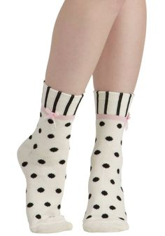 Tread Delightfully Socks. When you have these printed socks on your feet, youll always be stepping in style! #white #modcloth