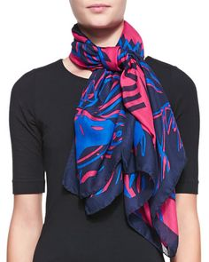 Four Tigers Square Scarf, Red by Kenzo at Neiman Marcus.