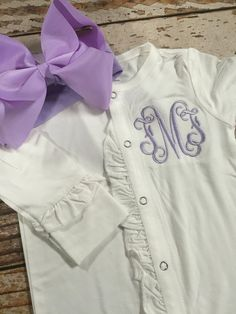Baby girl coming home outfit monogrammed footie by skkilby21