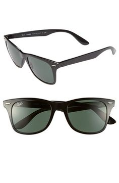 Metallic accents elevate bold, angular sunglasses with logo-branded temples. Style Name:Ray-Ban Sunglasses. Style Number: Available in stores. Sunglasses 2016, Ray Ban Sunglasses Sale, Cheap Sunglasses, Wayfarer Sunglasses, Ray Ban Glasses, Mens Glasses, Ray Ban Store, Discount Ray Bans, Ray Ban Outlet