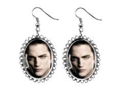twilight edward cullen silver Earrings oval pendant charm