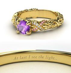 Disney Princess engagement rings--I love it! :D My favorite is, of course, the Rapunzel one...but theyre all AWESOME. (And its amazing how the colors and designs bring each princess to mind immediately!)