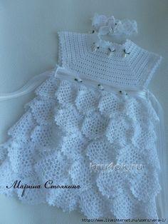mesh ruffles baby dress free crochet pattern