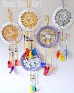 Paper plate dreamcatchers, great idea for kids!