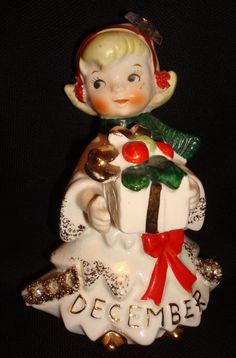 Vintage 57 Geo Z Lefton 1987J December Christmas Rhinestone Month Angel Figurine