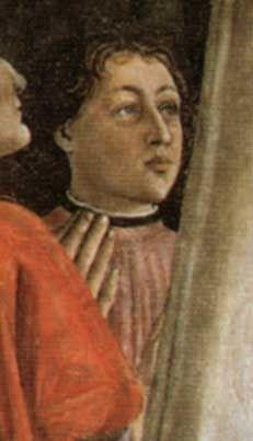 Portrait of Amerigo Vespucci, part of the Madonna della Misericordia by Domenico Ghirlandaio at the Ognissanti church in Florence