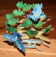 Pine and Kingfishers Kanzashi