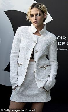 Kristen Stewart is stylish in white while Stella Maxwell is cool in blue at Chanel event in Paris Kristen Stewart And Stella, Stella Maxwell, Spice Girls, Red Carpet Fashion, Kanye West, Sexy Women, Actresses, Female, Stylish