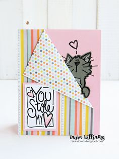Simple paper-folding idea for two-sided patterned paper on handmade cards. Try this adorable Valentine with the Peek-a-Boo Kitty stamp from Impression Obsession Simple Birthday Cards, Valentine Day Cards, Cute Cards, Quick Cards, Paper Folding Crafts, Fancy Fold Cards, Card Making Techniques, Card Sketches, Paper Cards