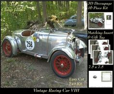 Sport   Vintage Racing Car 8   3D Decoupage   Insert   Tag on Craftsuprint - View Now!