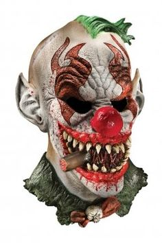Deluxe Fonzo The Clown-Adult size scary Halloween latex clown mask costume