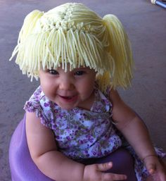 Cabbage patch crochet hat! Great for costumes or for keeping warm. Crochet  Baby Bonnet fd43ba5a7e5