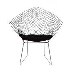H Bertoia chair by Domingo made of welded steel wire with cushion at My Italian Living Ltd