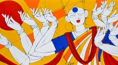 Title        : Goddess Durga Artist      : Jiaur Rahman ID           : JR 42 Medium  : Acrylic On Canvas Size       : 60 x 30 Inches Year       : 2015 Shipping : Rolled / Free Status    : Available Price      : On Query