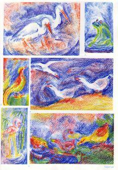 Taf. 44: Tierkunde 10 mit Bild.bucharb. in Bwfarb. (6./7. S.j.) 1. Störche in bl. Storchennest mit bl.-rot. Hintergr. 2. Frosch in Grün-Gelb-Bl. auf bl.-rot. Boden mit bl.-weis. Hintergr. 3. Langschwanzvogel (aus Süd-Amer.?) in Gelb-Rot-Grün auf gelb-grün-bl.Boden mit gelb-grün-bl.-rot. Hintergr. 4. Enten oder Schwäne in Weiss auf gelb-rot. Boden und fliegend am bl.-rot. Him. 5. Flamingo in Rot-Gelb-Weiss im bl. Wasser mit gelb-grünen Wasserpfl. (...) Crayon Drawings, Chalk Drawings, Art Drawings, Wet On Wet Painting, Painting & Drawing, Chalkboard Drawings, Wax Crayons, Felt Pictures, Flamingo Art
