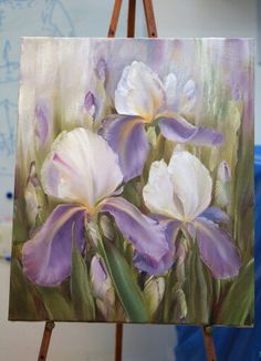 Hazy Iris flowers painting idea. Abstract Flowers, Watercolor Flowers, Watercolor Paintings, Iris Painting, Iris Flowers, Arte Floral, Acrylic Art, Art Oil, Painting Inspiration