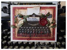 iGirlZoe - Tim Holtz Vintage Typewriter Christmas Card using Tim Holtz, Ranger, Sizzix and Stamper's Anonymous products; Nov 2014