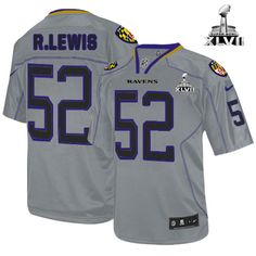 f077e2ca7 NFL NIKE Baltimore Ravens  52 Ray Lewis Lights Out Grey With Super Bowl  Patch Mens
