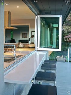 Bring the outdoors IN with these accordion glass windows and doors. Much less pricey than accordion doors, but with the same effect. outdoors inside interiors Bring the outdoors IN with these accordion glass windows and doors. Küchen Design, Home Design, Design Ideas, Deck Design, Window Design, Interior Design, Bar Designs, Urban Design, Layout Design