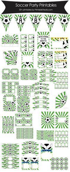 Green Sunburst Soccer Printable Party Set from PrintableTreats.com