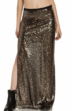 Amazon.com: DailyLook Women's, Side Slit Sequined Maxi Skirt, gold, S: Clothing