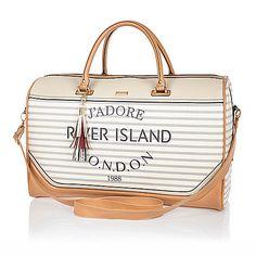 Cream stripe Paris print weekend bag - make up bags / luggage - bags / purses - women