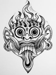 Bali Mask Mascara Maori, Japanese Mask Tattoo, Hippie Wallpaper, Tiki Tattoo, Shetland, Motorcycle Paint Jobs, Mask Drawing, Demon Tattoo, Buddha Tattoos