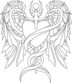 caduceus tattoo - remove fake ass heart and replace with anatomically correct heart