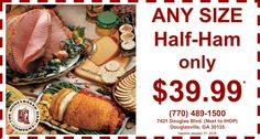 Hosting dinner or having an office party sometime soon? HoneyBaked Ham Douglasville has you covered... with our incredible half-ham special! Baking With Honey, Office Parties, Ham, Catering, Coupons, The Incredibles, Make It Yourself, Dinner, Cooking