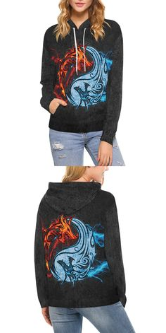 8b88446c65d92 Fire and Ice Yin Yang Dragons Women s Pullover Hoodie