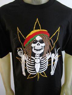 NEW Rasta Skeleton Marley weed plant 420 funny tee shirt men's black choose size #1StopTrendShop #GraphicTee