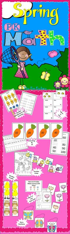 "Make sure your young students are ready for Kindergarten. This unit has the following activities: Clip-It Counting, Number Recognition 1-10 Carrot Counting, Counting by 10 to 100 Catch the Numbers Cards and Response Sheets Number Order 1 - 10 Ladybug Jumble More or Less Tulip Tasks More or Less Spring Puzzles Number Recognition 1-8 Fluttering Butterflies 5 Story Problem ""Necklaces"" (adding and subtracting) Story Problem Mat and Pictures. All activities in color and black and white."
