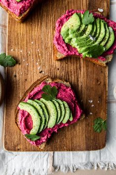 The Best Avocado Beet Hummus Toast (vegan + gluten-free)