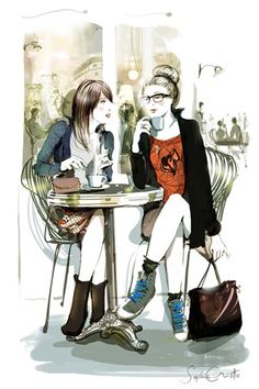 By Sophie Griotto I <3 this, reminds me of me & my BFF Cindy. There's my big bun & 4 eyes. Lol