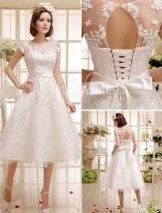 Col montant robe de mariée civile ceinture satin dentelle [#ROBE209194]…